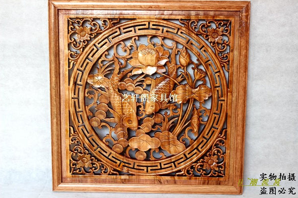 Dongyang woodcarving doors and Windows partition wall hanging Chinese antique wood square pendant 60cm