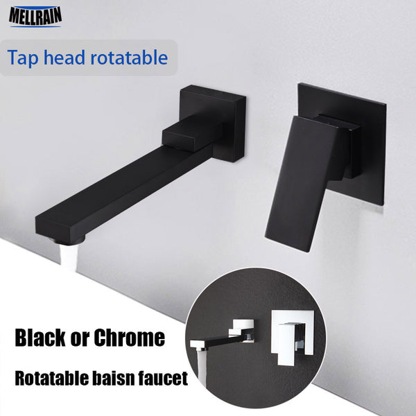 Matte Black/Chrome Widespread  Wall Mounted Rotatable Water Mixer Tapware