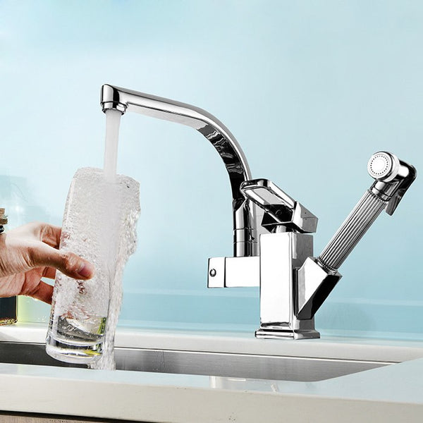 Copper H & C kitchen faucet pull out rotating retractable sink vegetables basin mixer with spray gun