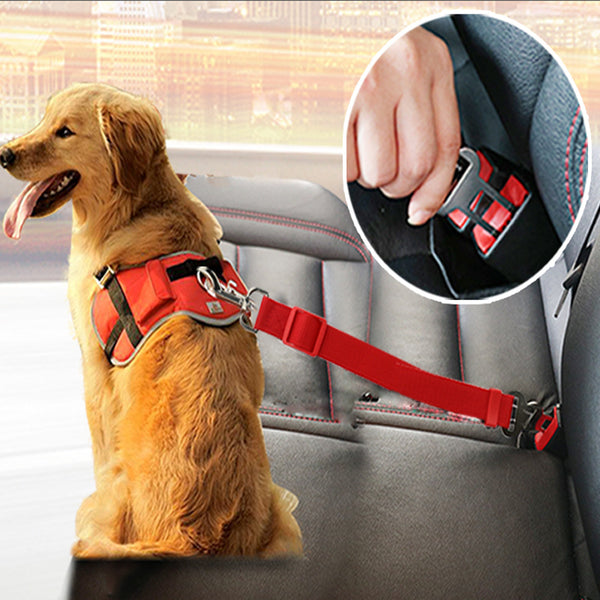 Dog Leads for Vehicle SeatBelt connect to your pets Harness -Safety Lever Auto Traction