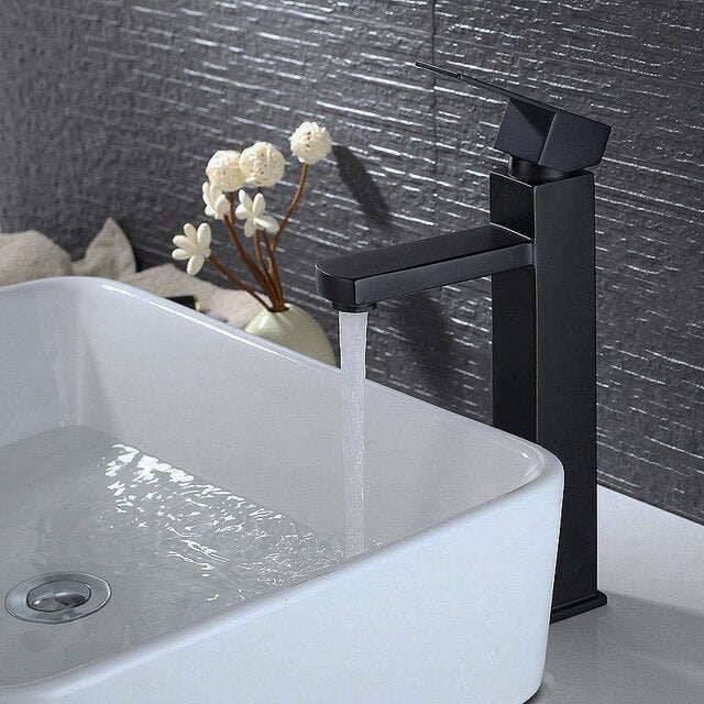 Black Bathroom Washbasin Mixer Faucet Deck Mounted  Water Mixer Tapware Squared Style 2 Height For Under & Top Counter