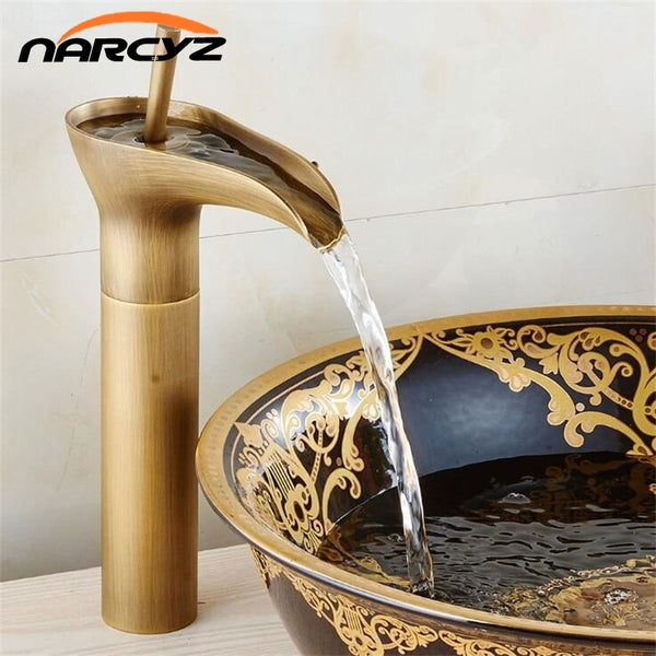 Basin Faucets Waterfall Bathroom Antique Faucet Single Handle Vanity Sink Mixer Tap Deck Mounted Bathroom Torneiras XT964