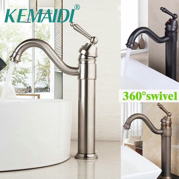 KEMAIDI Antique Brass Faucet Stream Tap Bathroom Basin Faucet 360 Swivel Solid Brass H & C Mixer