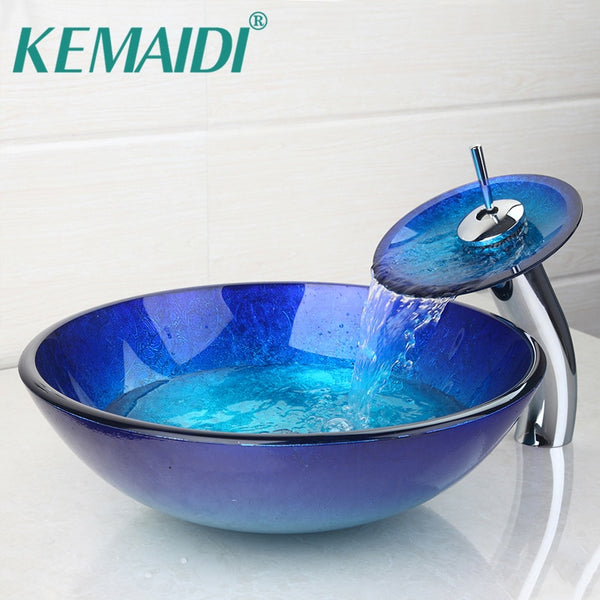 KEMAIDI AU Bathroom Round Bule Tempered Glass Oval Wash Basin
