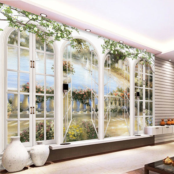 European Style Straw Non-woven Mural 3D  Simulated Doors Windows Landscape Wallpaper  Backdrop