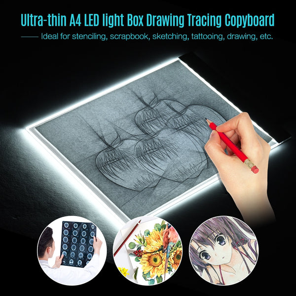 A4 Size Ultra-thin LED Light Pad Box Painting Tracing Panel Copyboard for Cartoon Tattoo Tracing Pencil Drawing X-Ray Viewing