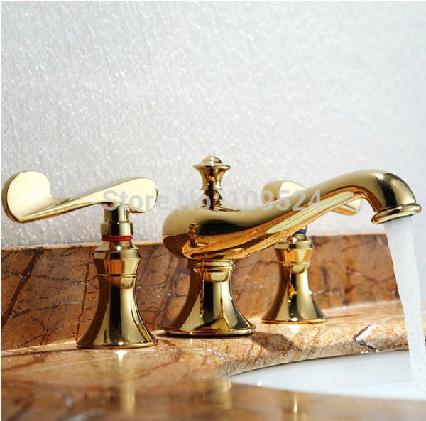 EMS PVD GOLD WIDESPREAD LAVATORY BATHROOM SINK FAUCET Lever handles knobs faucet