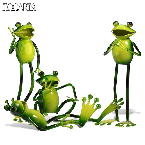 Miniature 4 Style Frog Shaped Figurine Metal Craft