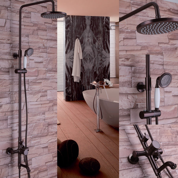 Antique Copper Solid Brass Bathroom Shower Faucet 8-inch Rainfall Shower Head with Handheld Spray