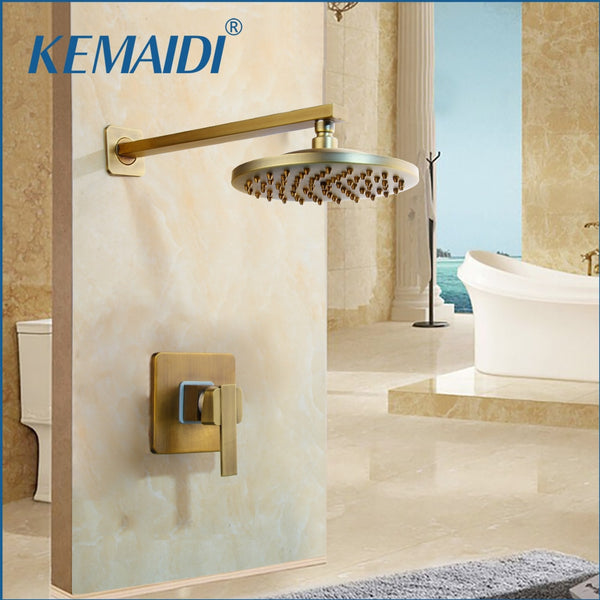 "KEMAIDI Antique Brass Wall Mounted Shower Faucet Sets 8"" Brass Rain Shower Head Single Lever"