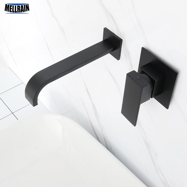 Matt Black Plated Bathroom Wall Mounted Faucet