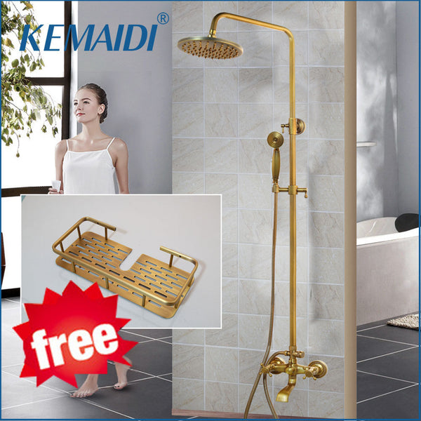 KEMAIDI Antique Brass Shower Faucets Set 8'' Rainfall Shower Head  Shelf Handle Mixer Tap Bath Shower