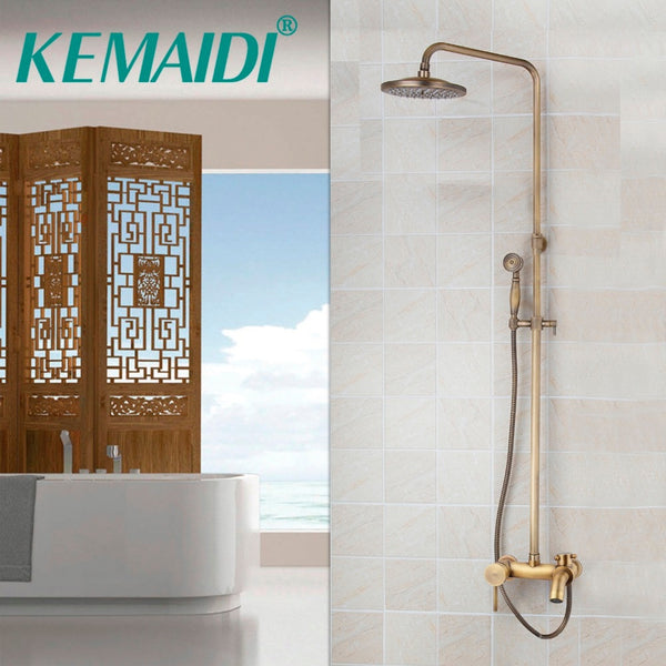 KEMAIDI Faucet Antique Brass Waterfall Shower H & C Mixers Taps Wall Mounted Rainfall Shower Faucets