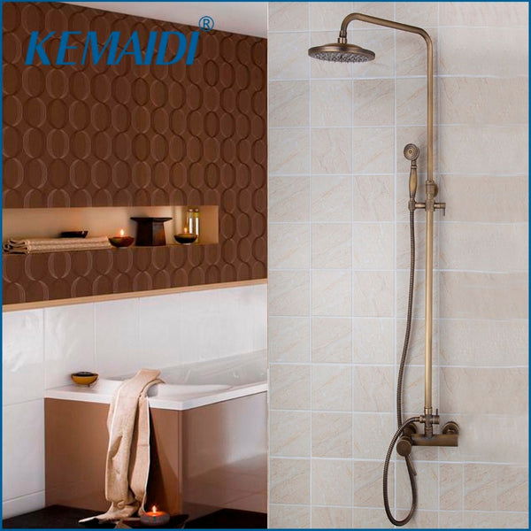 KEMAIDI Antique Brass Rainfall Shower Head System Chrome Bath & Shower Faucet Mixer W/ Hand Spray