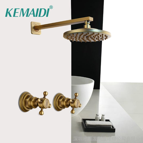 KEMAIDI 8 inch Antique Brass Round Wall Mounted Rainfall Shower Faucet Sets 2 Handles