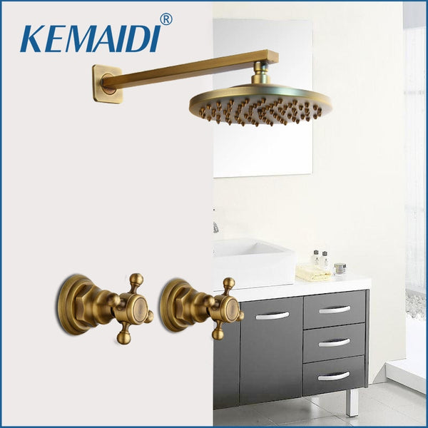 KEMAIDI  8 inch Antique Brass Round Wall Mounted Bathroom Rainfall Head 2 Handles Shower Shower Sets