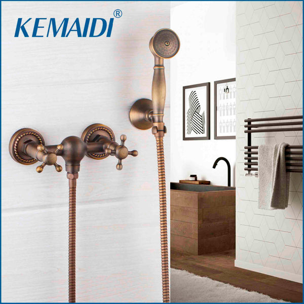 KEMAIDI Bathroom Bath Wall Mounted Hand Held Shower Head Kit Shower Faucet Sets Shower Mixer Tap