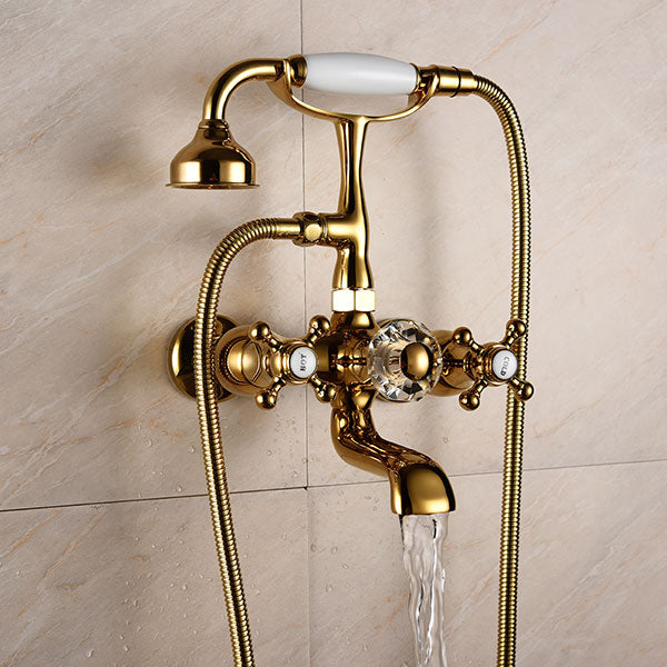 Luxury solid Brass Bathroom Bath Wall Mounted Hand Held Shower Kit Bathtub Shower Faucet Sets