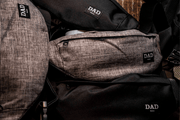 DAD PACKS IN BLACK AND HEATHER GREY