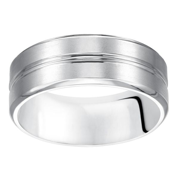 Center Polished Striped & Brushed 8mm Band