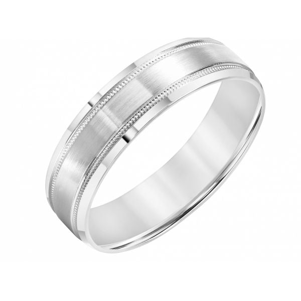14K White Gold Men's Milgrain Wedding Band