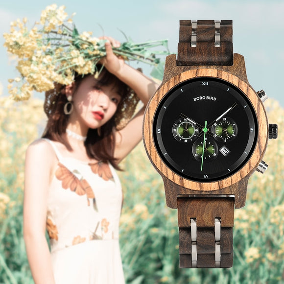 BOBO BIRD Women's Wooden Luminous Hands Watch