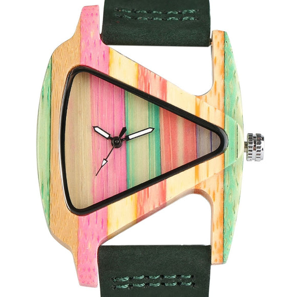 Colorful Wooden Triangle Quartz Watch