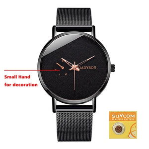 DONROSIN Men's Casual Slim Black Mesh Watch