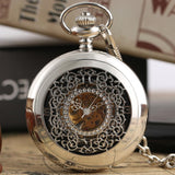 Hollow Flower Silver Hand Winding Mechanical Pocket Watch