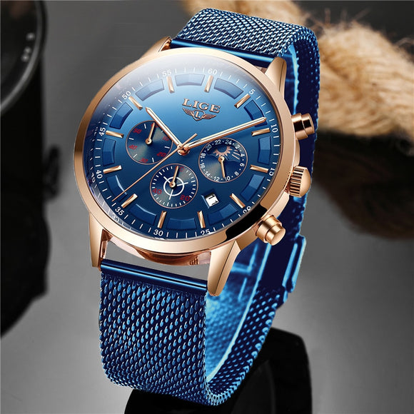 LIGE Men's Luxury Sport Moon Phase Watch