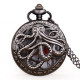 Vintage Octopus Hollow Steampunk Black Pocket Watch with Necklace Chain