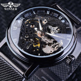 Winner Men's Stainless Steel Mesh Band Skeleton Watch
