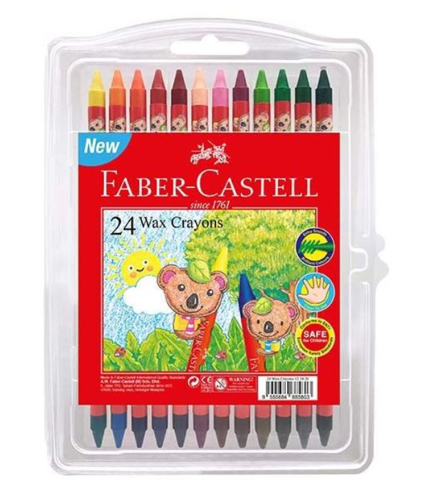 Faber-Castell Wax Crayon 24 Colour Clamshell
