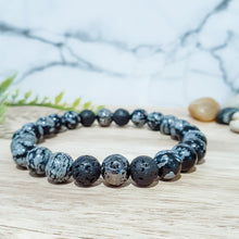 Load image into Gallery viewer, Snowflake Obsidian Diffuser Bracelet with Gunmetal Lava Stones