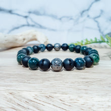 Load image into Gallery viewer, Moss Agate Bracelet with Black Onyx and Gunmetal Lava Stones
