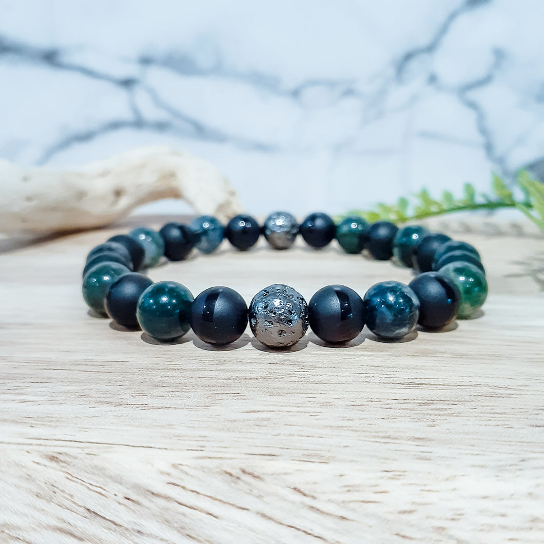 Moss Agate Bracelet with Black Onyx and Gunmetal Lava Stones