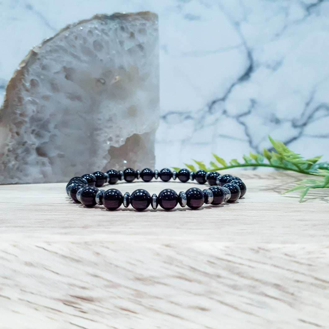 Black Onyx Gemstone Bracelet with Gunmetal Hematite