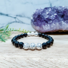 Load image into Gallery viewer, Black Onyx Gemstone Bracelet with Silver Lava Stone
