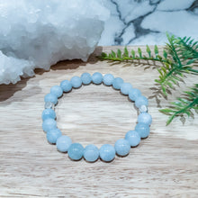 Load image into Gallery viewer, Jade Gemstone Bracelet in Aqua with Silver Accents