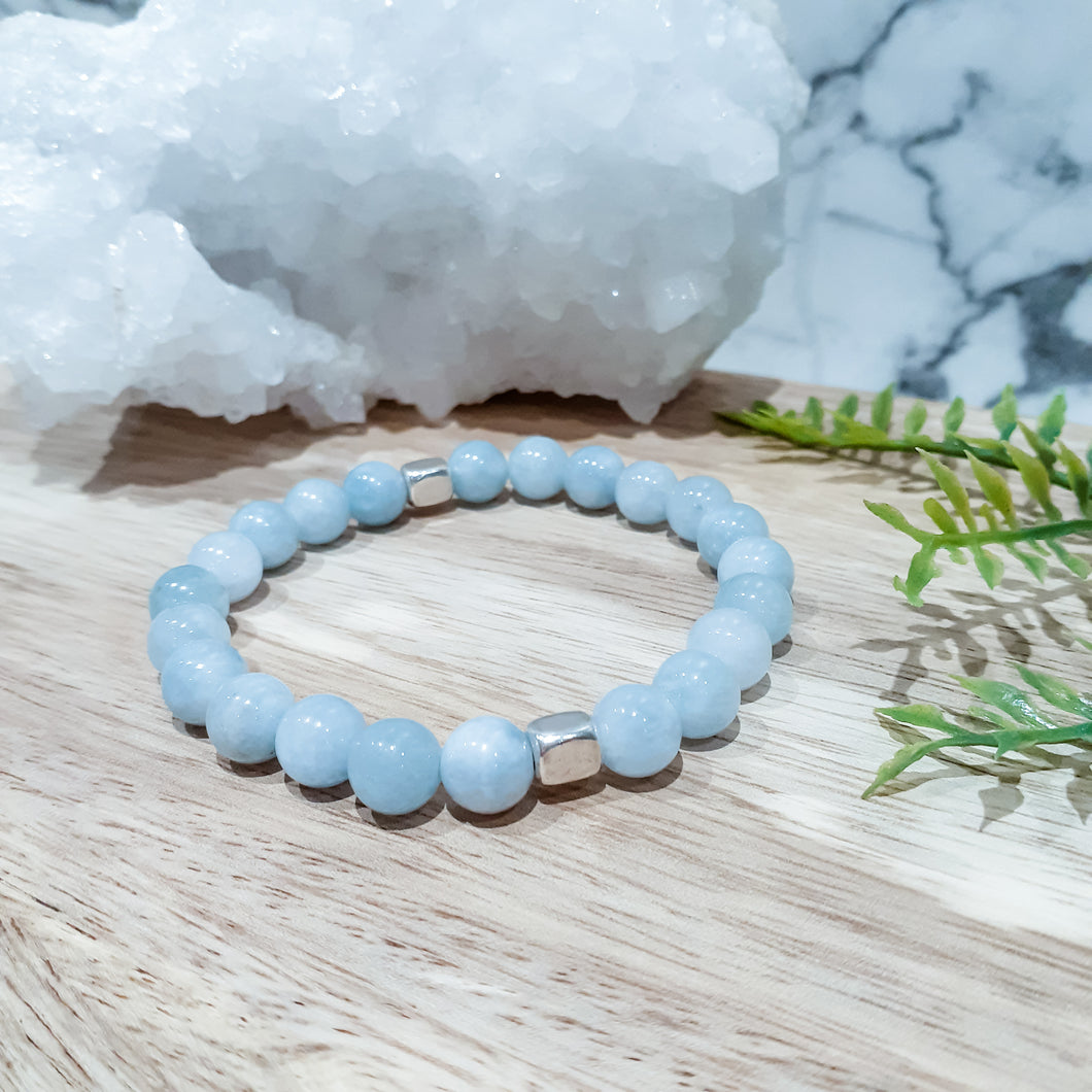Jade Gemstone Bracelet in Aqua with Silver Accents