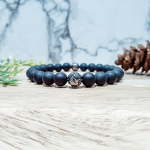 Load image into Gallery viewer, Black Onyx Gemstone Bracelet with Gunmetal Lava Stone