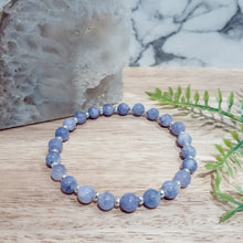 Load image into Gallery viewer, Jade Gemstone Bracelet in Lavender with Silver Hematite
