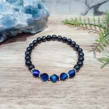 Load image into Gallery viewer, Shungite + Galaxy Tigers Eye EMF Protection Bracelet