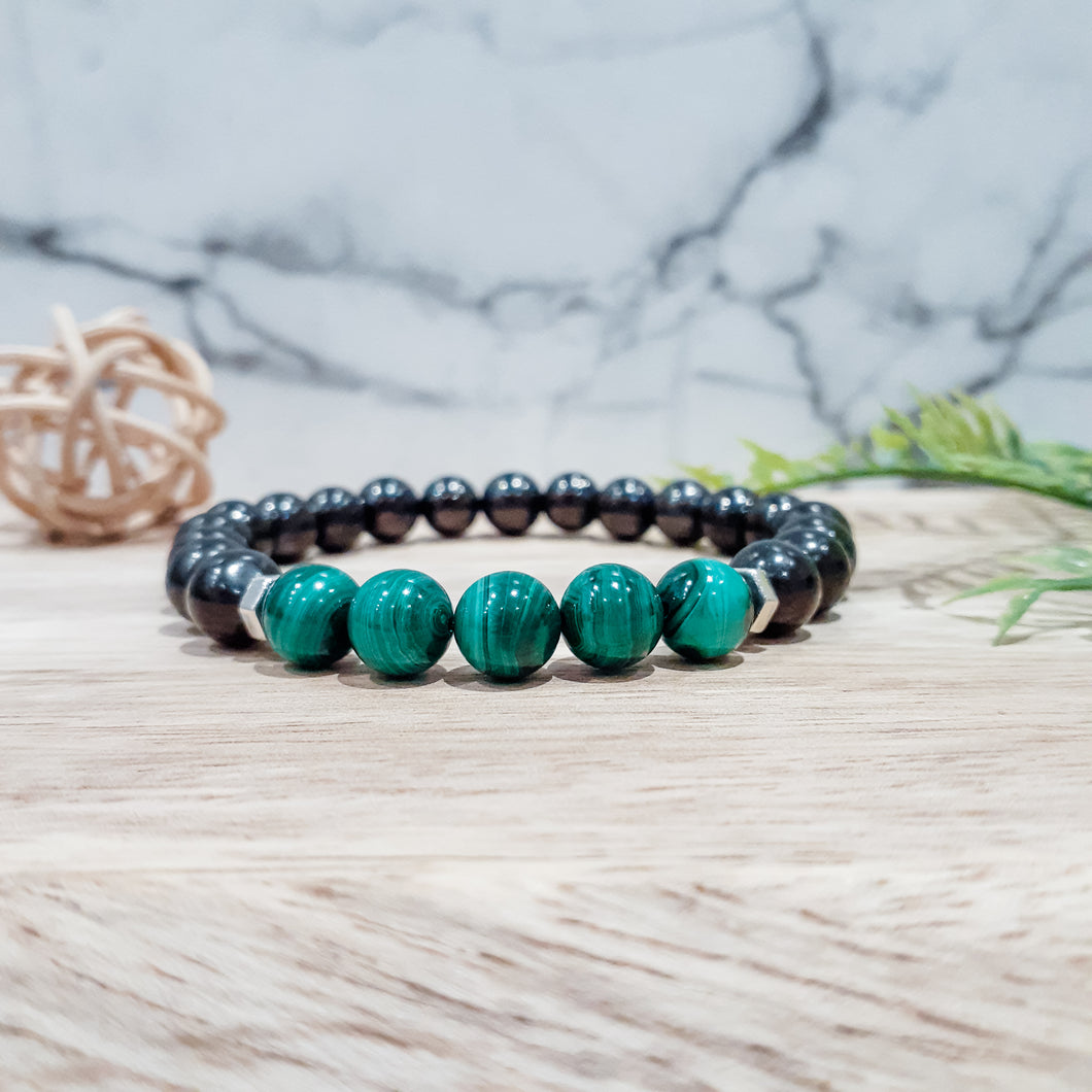 Shungite + Malachite EMF Protection Bracelet