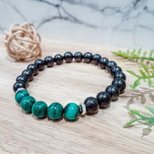 Load image into Gallery viewer, Shungite + Malachite EMF Protection Bracelet