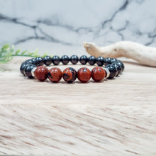 Load image into Gallery viewer, Shungite Bracelet with Mahogany Obsidian. EMF Protection Bracelet.