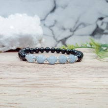 Load image into Gallery viewer, Shungite Bracelet with Auqa Jade. EMF Protection Bracelet.