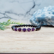 Load image into Gallery viewer, Shungite Bracelet with Amethyst - EMF Protection