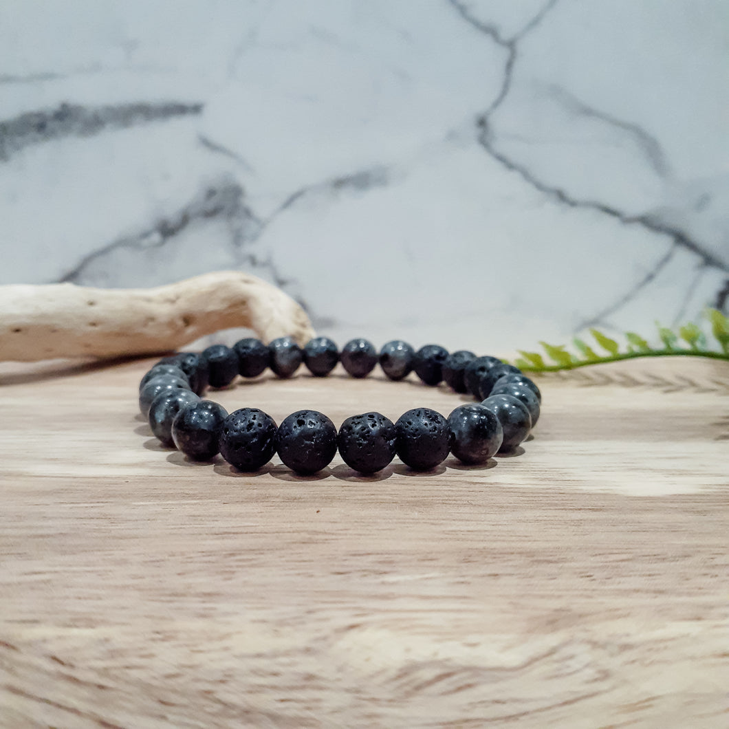 Diffuser Bracelet for Men with  Larvikite and Lava Stone
