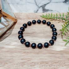 Load image into Gallery viewer, Black Onyx Gemstone Bracelet with Rose Gold Hematite